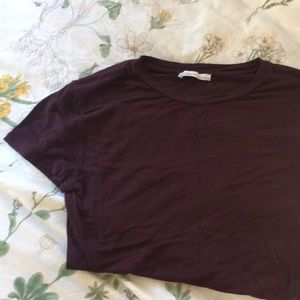 Zara plain dark plum tee